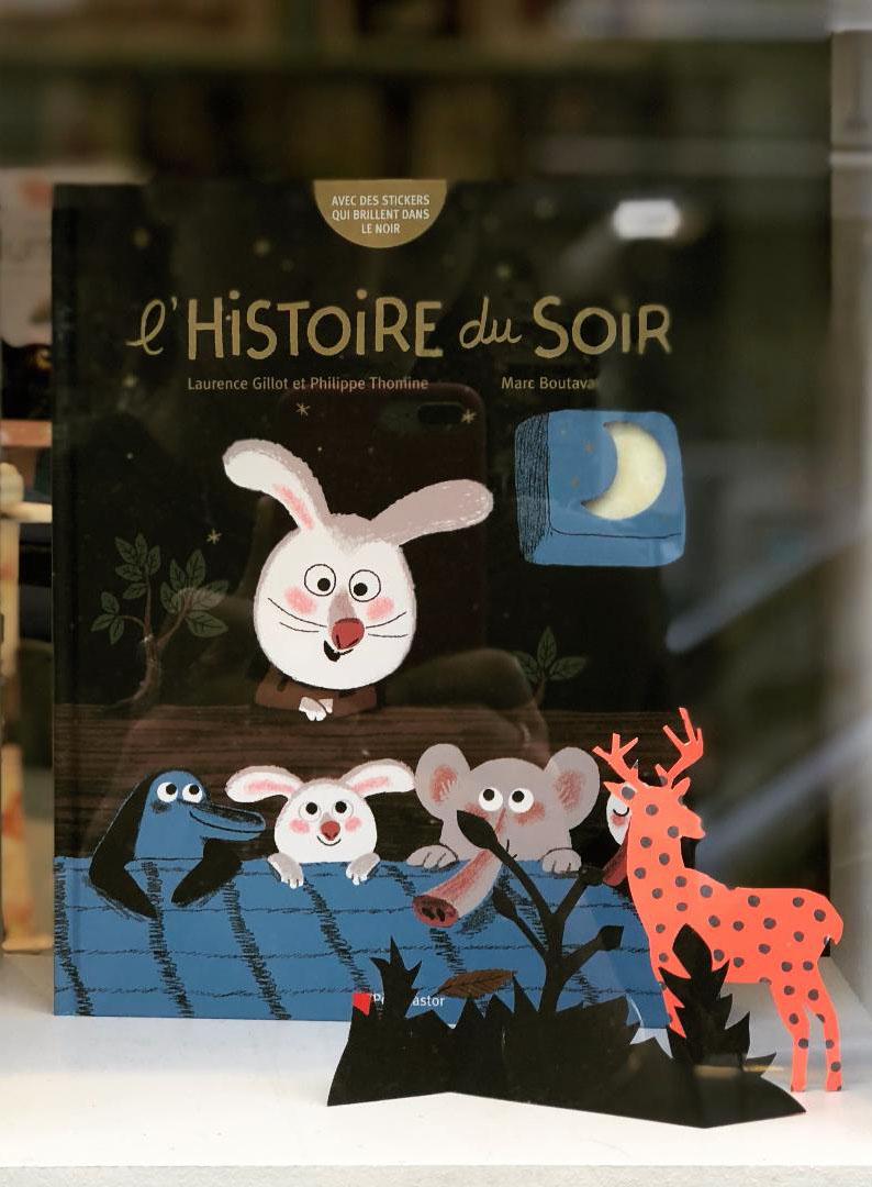 boutique vitrine librairie nuit